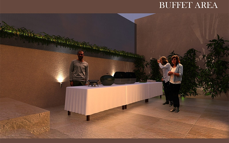 16 Rooms Holiday Home Buffet Area