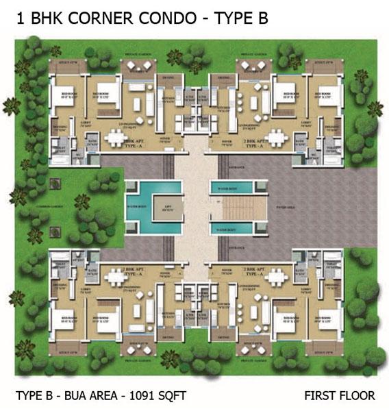 1BHK Corner Condo - Type B
